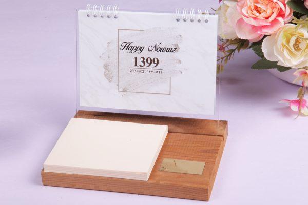 تقویم رومیزی چوبی/تقویم رومیزی ارزان و شکیل | تقویم رومیزی بل پایه چوبی مدل 1400